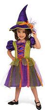 Girls Pumpkin Witch Costume Dress & Hat Combo Halloween Child Size Small 4-6