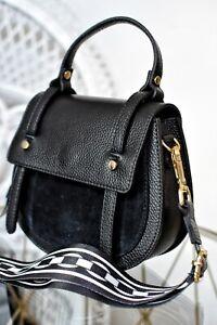 Schwarz 100% Leder Tasche Umhängetasche Crossbody Handtasche Shopper Bag Leather