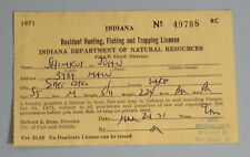 1971 East Chicago Indiana Conservation Resident Hunting Fishing Trapping License