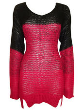 New-Black Red Rose Colour Block Jumper-Open Knit-Ombre Long Sweater - Size 12