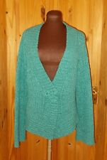 PER UNA turquoise blue-green WOOL knitted long sleeve cardigan jumper top M M&S