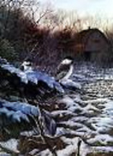 """RICK KELLEY  - """" CHICKADEES AND NUTHATCH """" -- LIMITED - ARTIST'S PROOF - SIGNED"""