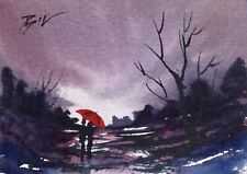 Original Miniature Painting by Bill Lupton ACEO - The Red Brolly