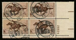 US 1960 #1154 - 4c Pony Express Issue Plate Block of 4 Columbus OH Cancel Used