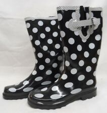 73f80b045c8e9 Chooka Womens Classic Black with White Polka Dot Rain Boots Size 8