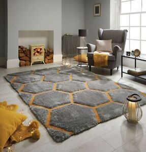 Hand Carved Shaggy Rug Honeycomb Grey Ochre Living Bed Room Floor Carpet Rugs