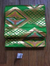 Vintage Green & Gold Japanese Obi with Phoenix Design Pure Silk Shirokiya Japan