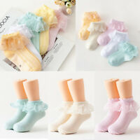 Baby Kids Girls Soft Breathable Cotton Rich Cute Socks Lace Ankle Socks