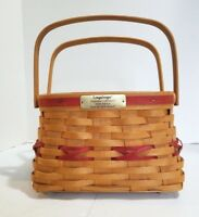Longaberger Deck the Halls Christmas Collection Basket 2000 Red  2 Swing Handles