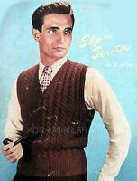"""Vtg Knitting Pattern 1940s-50s MENS CABLE Pullover Sweater Tank Top 3 Ply 38-42"""""""