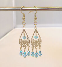 Chandelier Earrings, Gold plated with Light Blue Crystals. 2 1/4 inch