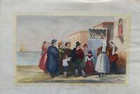 Coppia n. 2 Incisioni su rame colorata a mano metà '800 Teatro di Pulcinella (P3