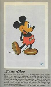 Mickey Mouse - Allers 1937 Swedish Collectors Trading Paper Card  Made In Sweden