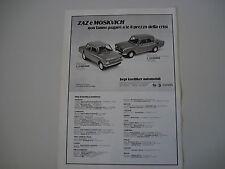 advertising Pubblicità 1978 ZAZ 968 A / MOSKVICH 2140