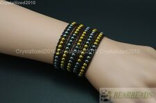 Hot Colorful Handmade Mixed Crystal Gemstones Beads Wrap Leather Bracelet 5 Wrap