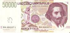 BIGLIETTO DI ITALIA 50000 LIRE ANNO 1992  LORENZO BERNINI