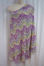Sweet Pea By Stacy Frati Dress Sz S Multi Color Zig Zag One Shoulder Dress