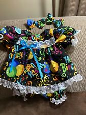 """Cabbage Patch 16"""" bright Happy Birthday print dress, panties 2 hairbows"""