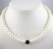 24inch 7-8mm White Beauty Pearl &10mm Black Agate Beads Necklace JN878