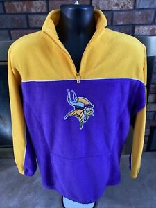 MINNESOTA VIKINGS NFL FOOTBALL Zip Fleece Sweatshirt Mens Medium Purple Reebok