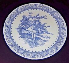"Vintage Royal Doulton Blue & White Plate Victorian Pastimes ""Time To Dream"""