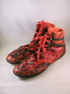 Adidas Flying Impact High Top Wrestling Training Shoe Red Camo 1580 Size 10