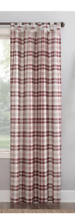 "52""x84"" Blair Farmhouse Plaid Semi - Sheer Tab Top Curtain Panel Red - No. 918"