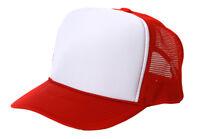 Brand New Red White Trucker Hat Cap - Mesh