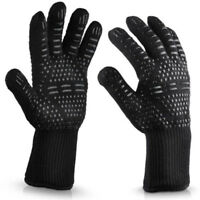 BBQ Oven Gloves Extreme Heat Resistant 932°F Silicone Grill Cooking Black 1pc