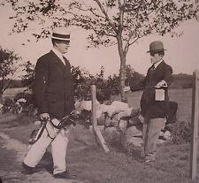 Negative Glass Slide 1920's Men Playing Golf Wearing Bowler Hat Greens Cape Cod