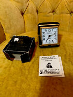 Vintage Seth Thomas Windup Travel Alarm with Black Clamshell Case Box Directions