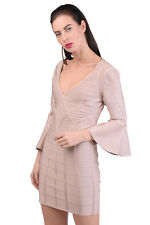 HERVE LEGER Bodycon Dress Size L Cut Out Back Flare Sleeve Deep V-Neck RRP 6887e1398