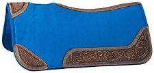 """Western Felt Saddle Pad - 30""""x30"""" - Turquoise w Tooled Leather - Buckstitched"""