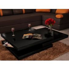 # Modern Coffee Table High Gloss Finish Black 3 Layers Extendable Living Roo