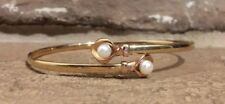 14KT Bangle Bracelet Yellow Gold W/ 2 Pearls Beverly Hills Gold Beautiful!