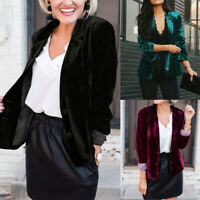 Womens Long Sleeve Velvet Slim Fit Blazer Jacket OL Formal Business Coat Outwear