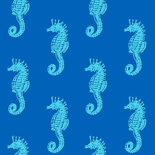 Fabric Seaside Wonders Blue Seahorses By the Sea Cotton by the 1/4 yard BIN