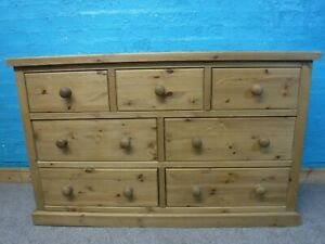 DOVETAIL CHUNKY SOLID WOOD 7DRAWER WIDE CHEST H83 W134cm- VISIT OUR WAREHOUSE