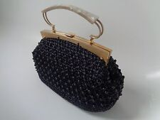 True vintage 1920/30's straw / beaded / mother-of-pearl navy blue handbag