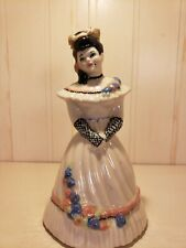 Antique Porcelain Victorian Woman Dinner Bell Vintage Pottery