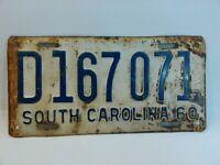 1960 South Carolina license plate Vintage Rustic Unrestored D167 071