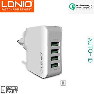LDNIO 4 FACH USB NETZTEIL SCHNELL LADEGERÄT ADAPTER MEHRFACH PORT ANSCHLUSS 4.4A