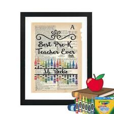 Personalized Pre-K Teacher Dictionary Art Print Mixed Art Teachers Gift Print