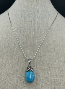 Barse Romance Turquoise Drop Necklace- Sterling Silver- NWT