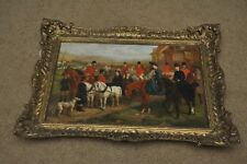 "Original 1879 EDWARD BENJAMIN HERBERTE 12"" x 18"" Oil on Canvas ""The Hunt"" #10"