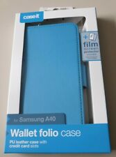 Caseit Samsung Galaxy A40 Wallet Folio Case Blue + Film Screen Protector NEW