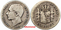 Spain Alfonso XII Silver 1883 (83) MS-M  Peseta SCARCE KM# 686