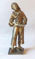 Sculpture En Bronze, Pierrot Au Clair De La Lune, Signée Bouret, XIX ème
