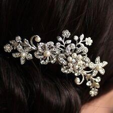 Silver Wedding Bridal Headpiece Pearl Hair Comb Clip Diamante Rhinestone Crystal