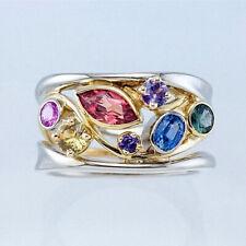 Fashion Women 925 Silver Rings Cubic Zircon Wedding Rings Jewelry Size 6-10